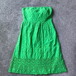 Strapless Kelly green eyelet dress